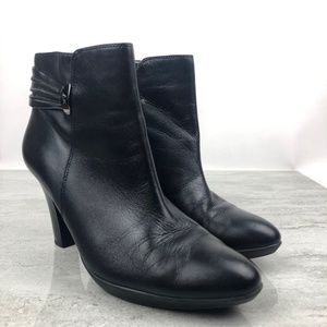 Anne Klein Black Leather Ankle Boots